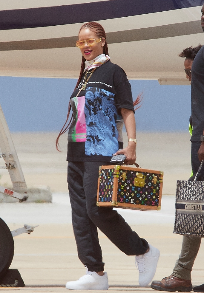 rihanna, fenty antisocial sunglasses, Fenty unreleased Origin t-shirt, palace skateboards sweatpants, nike air force 1 low sneakers, Louis Vuitton X Takashi Murakami scarf,