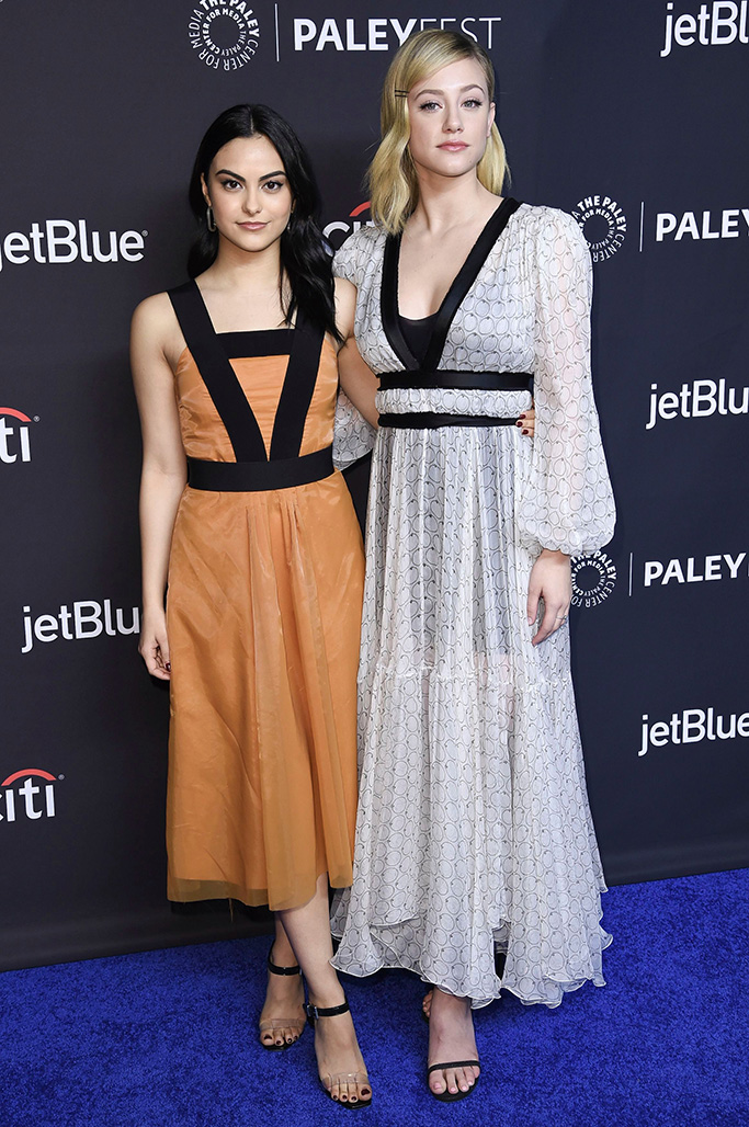 """Camila Mendes, Lili Reinhart. Camila Mendes, left, and Lili Reinhart attend the 35th Annual Paleyfest """"Riverdale"""" at the Dolby Theatre, in Los Angeles35th Annual Paleyfest - Riverdale, Los Angeles, USA - 25 Mar 2018"""