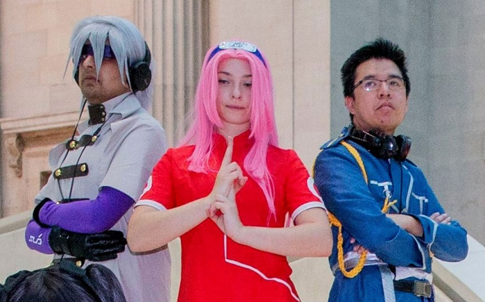 Cosplay enthusiasts, Rin from Fate, Sakura Haruno from Naruto, Kain Fuery from Fullmetal Alchenist, Mao from Code Geass, Sieg from Fate, Astolfo from FateManga exhibition at the British Museum, London, UK - 05 Dec 2018