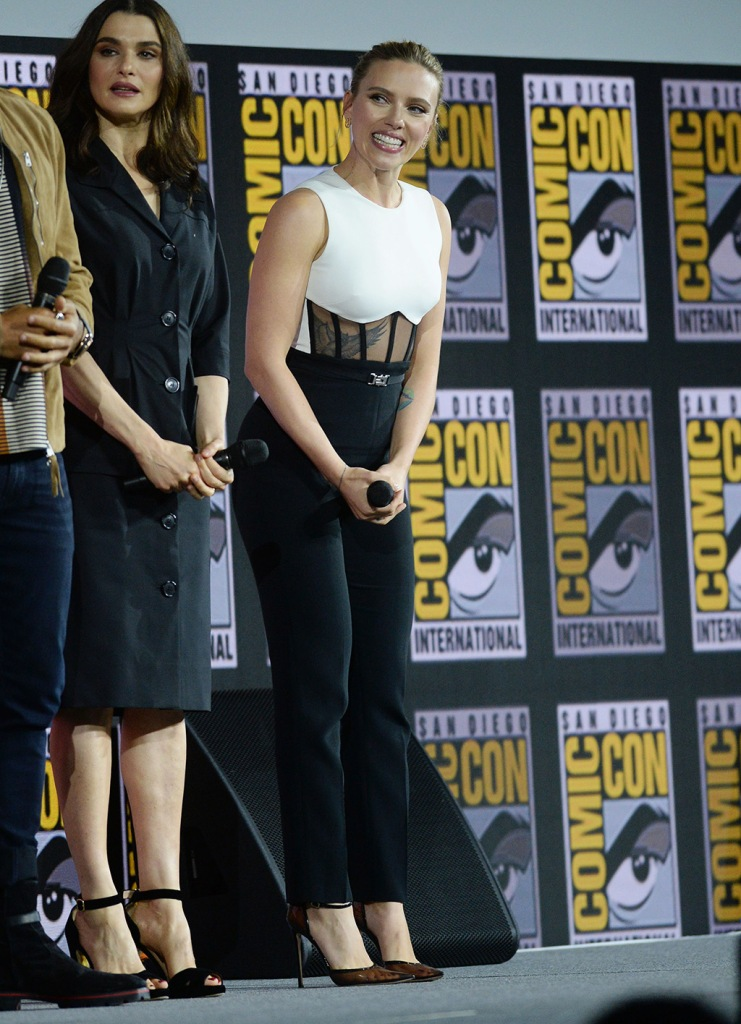 Scarlett Johansson, David coma resort 2020 jumpsuit, Gianvito Rossi see-through pumps, celebrity style, Marvel Studios panel, Comic-Con International, San Diego, USA - 20 Jul 2019