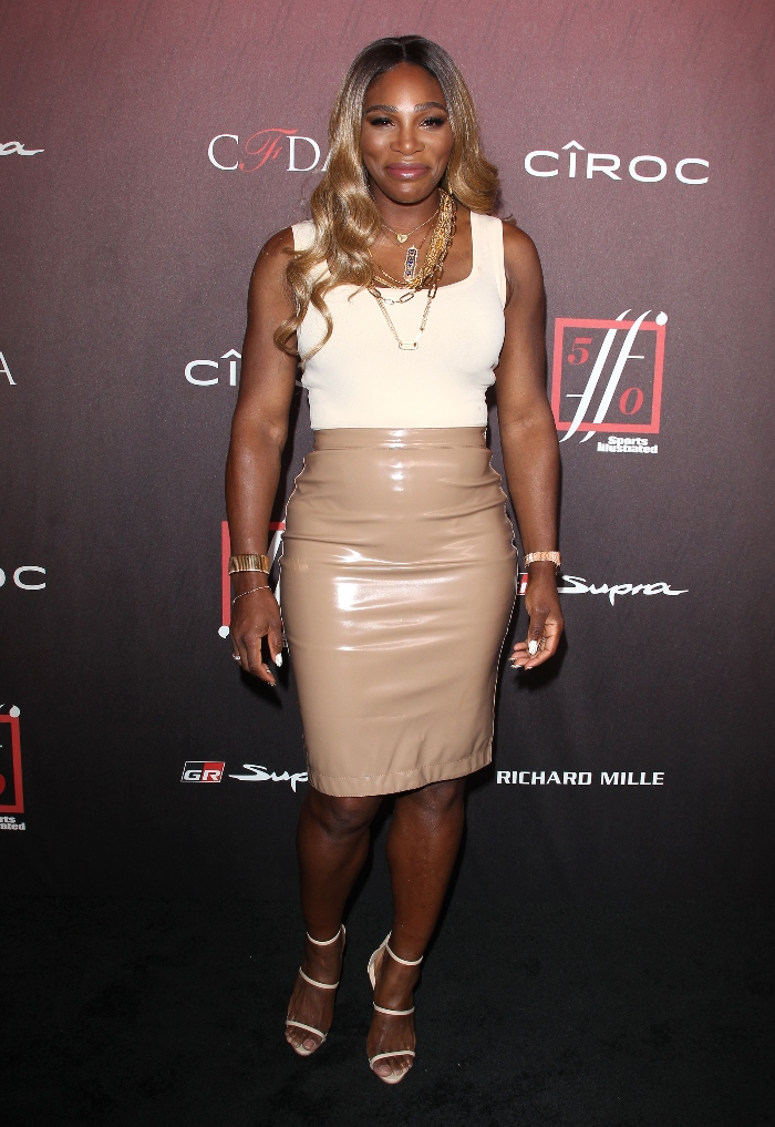 Sports Illustrated Fashionable 50 launch, serena williams, leather skirt, strappy heels
