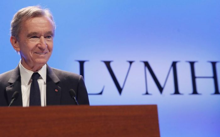 CEO of LVMH Bernard Arnault arrives to present the group's 2018 results during a conference in ParisLVMH, Paris, France - 29 Jan 2019