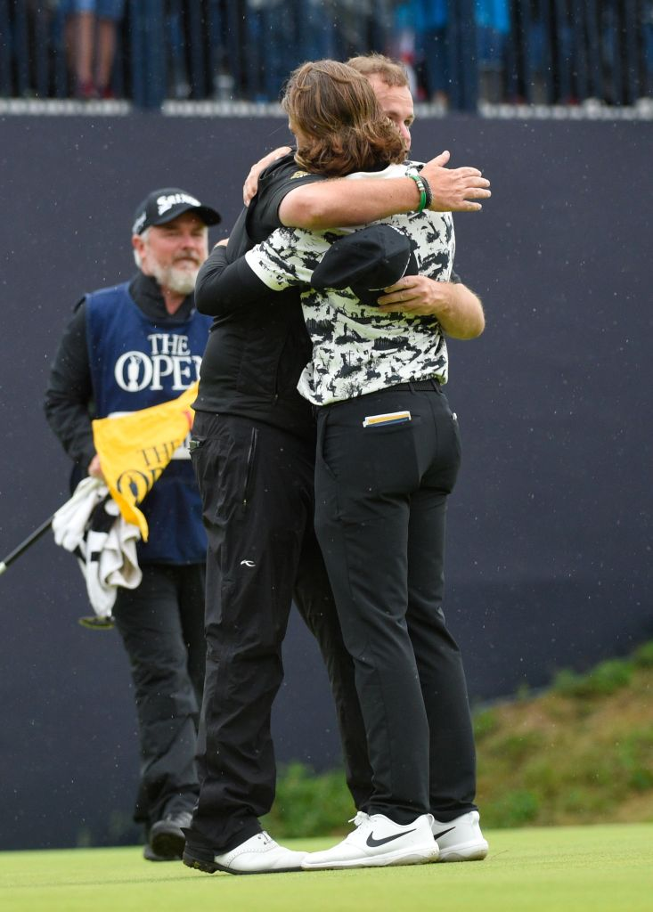 Shane Lowry of Ireland embraces Tommy Fleetwood of England after winning The OpenThe 148th Open Championship, Final Round, Royal Portrush Golf Club, Northern Ireland, UK - 21 Jul 2019