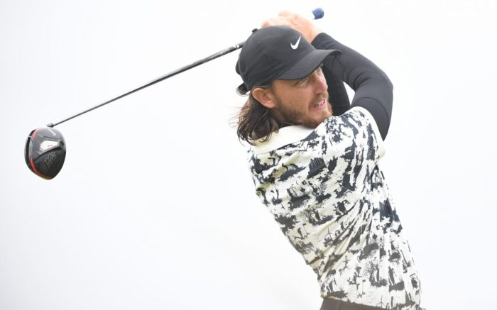 Tommy Fleetwood of England tees off on the final day of the British Open Golf Championship at Royal Portrush, Northern Ireland, 21 July 2019.British Open Golf Championship, Portrush, United Kingdom - 21 Jul 2019