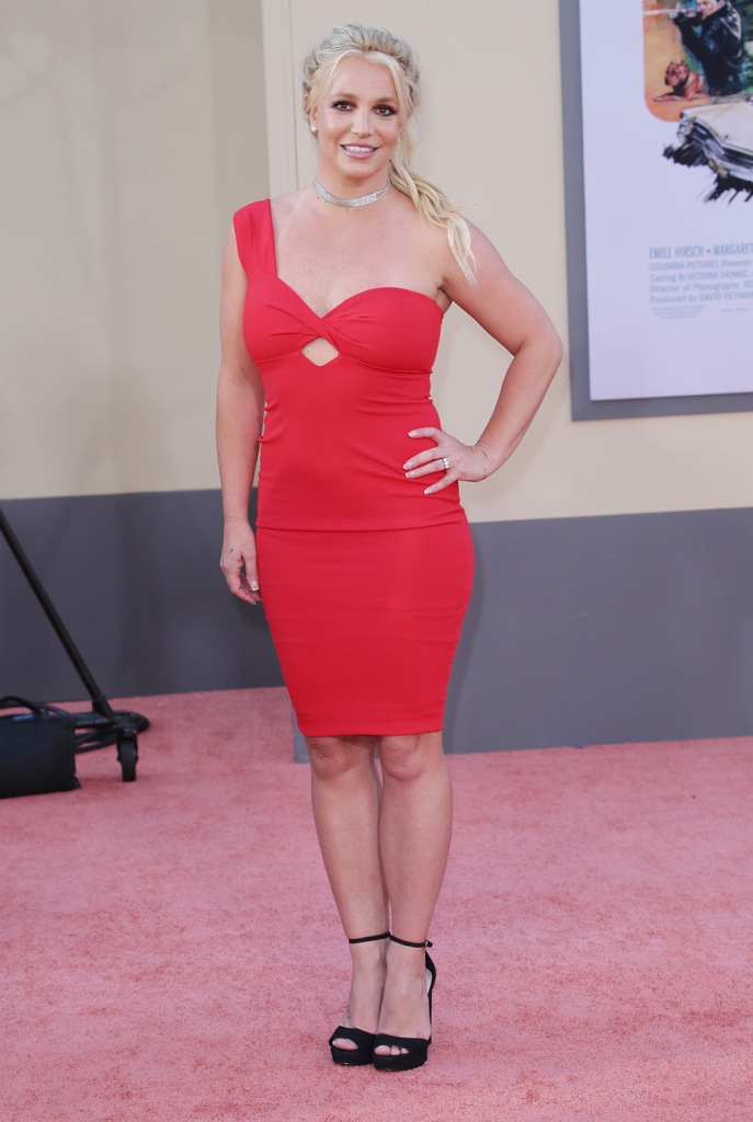 Britney Spears, red dress, platform sandals, red carpet, 'Once Upon a Time in Hollywood' film premiere, Arrivals, TCL Chinese Theatre, Los Angeles, USA - 22 Jul 2019Wearing Nookie