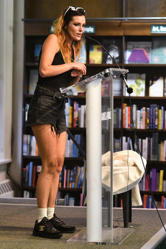 Bella Thorne, chanel sneakers, denim shorts, celebrity style, New York city