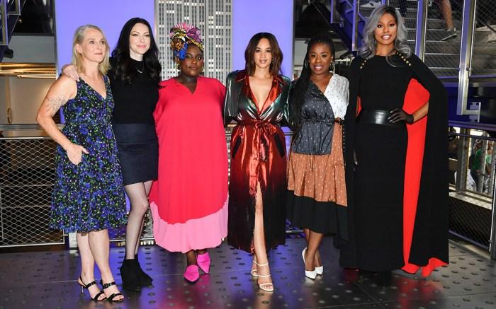 Piper Kerman, Laura Prepon,Danielle Brooks, Dascha Polanco, Uzo Aduba and Laverne Cox'Orange Is The New Black' TV show cast at the Empire State Building, New York, USA - 26 Jul 2019
