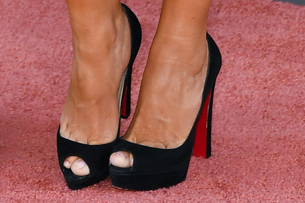 Sofia Vergara, celebrity feet, pedicure, dolce & Gabbana lace-up dress, christian louboutin platform sandals, Joe Manganiello and Sofia Vergara'Once Upon a Time in Hollywood' film premiere, Arrivals, TCL Chinese Theatre, Los Angeles, USA - 22 Jul 2019
