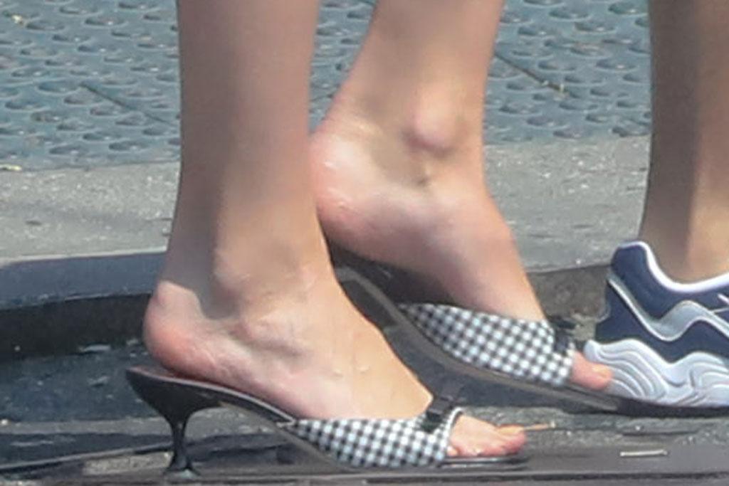 Sophie Turner, gingham kitten heels, celebrity shoe style, nyc, sandals, staud
