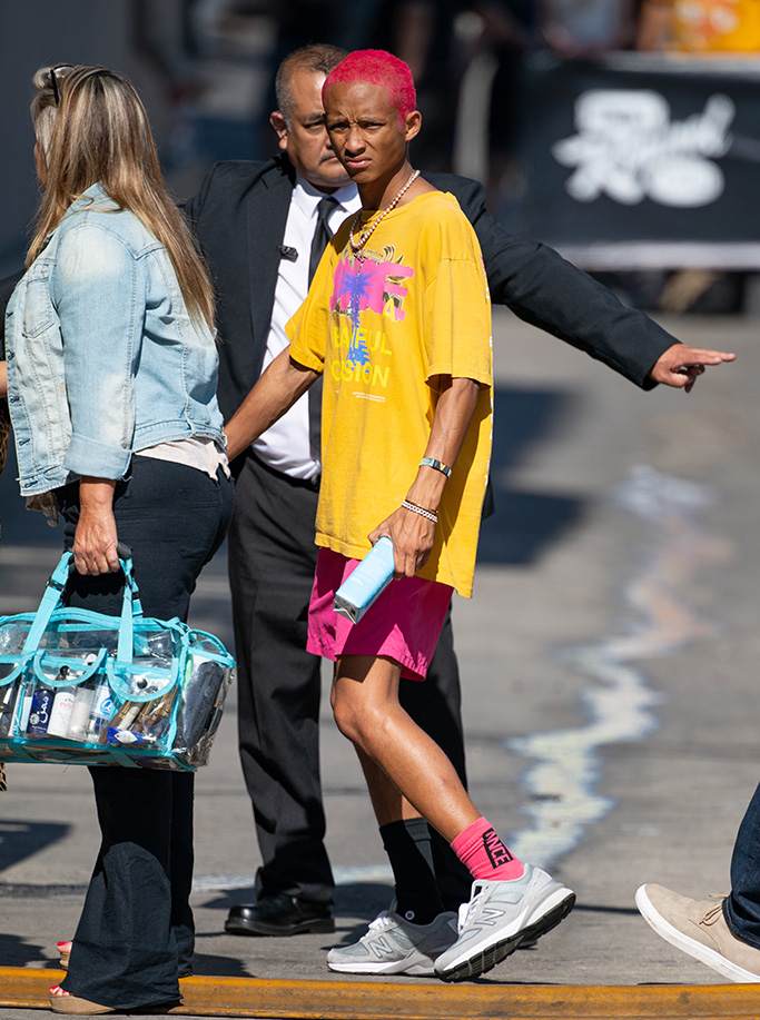 Jaden Smith, Jimmy Kimmel, pink hair, new balance sneakers
