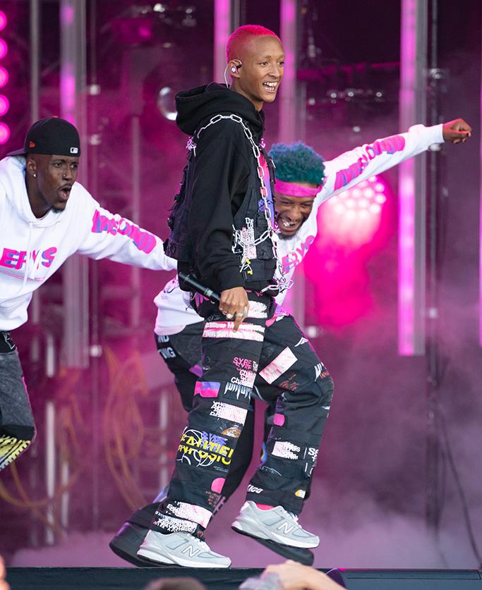 Jaden Smith, Jimmy Kimmel, pink hair, new balance sneakers, ERYS