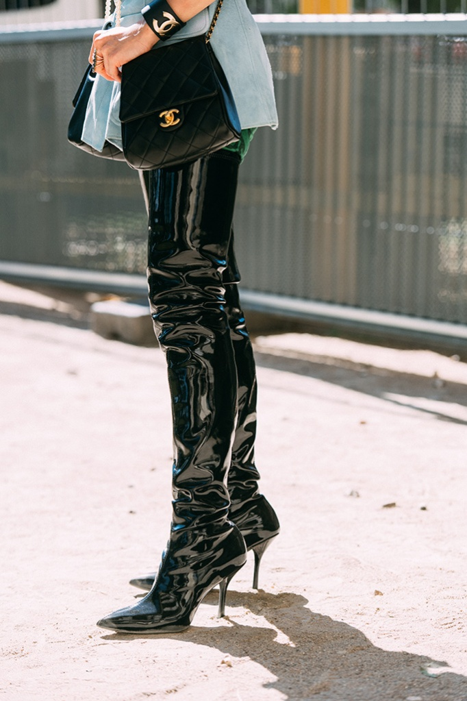 Stuart Weitzman, black pointy boots, Paris Haute Couture, Paris Couture Week 2019