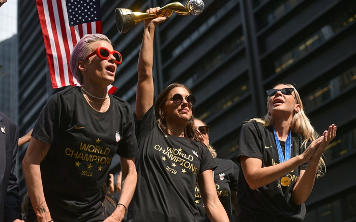 Megan Rapinoe, Alex Morgan and Alexandra LongUS Women's soccer team World Cup Ticker-Tape Parade, New York, USA - 10 Jul 2019