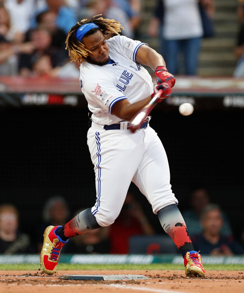 Toronto Blue Jays Vladimir Guerrero Jr. hits a home run ball during the MLB All-Star T-Mobile Home Run Derby first round at Progressive Field in Cleveland, Ohio, USA, 08 July 2019.MLB All-Star Practice in Cleveland, USA - 08 Jul 2019