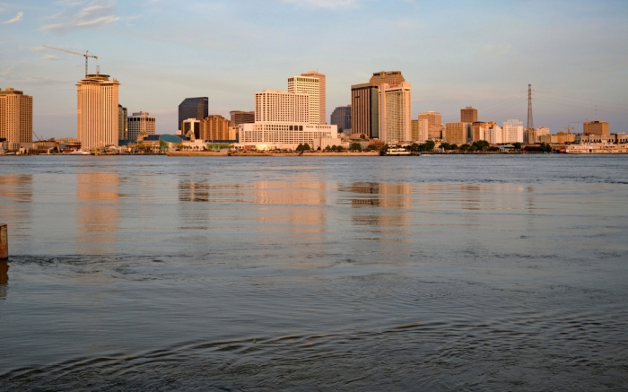 The Mississippi River is at 16 feet, which is just below flood stage, 17 feet, in New Orleans, ahead of Tropical Storm Barry from the Gulf of Mexico. The river levees protect to about 20 feet, which the river may reach if predicted storm surge prevents the river from flowing into the Gulf of MexicoTropical Weather, New Orleans, USA - 11 Jul 2019