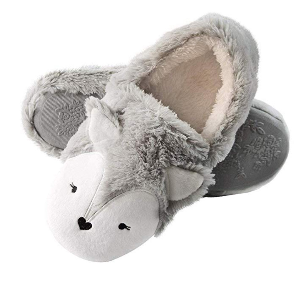 Caramella Bubble Womens Fox Fleece Animal Cozy House Slippers Indoor Outdoor
