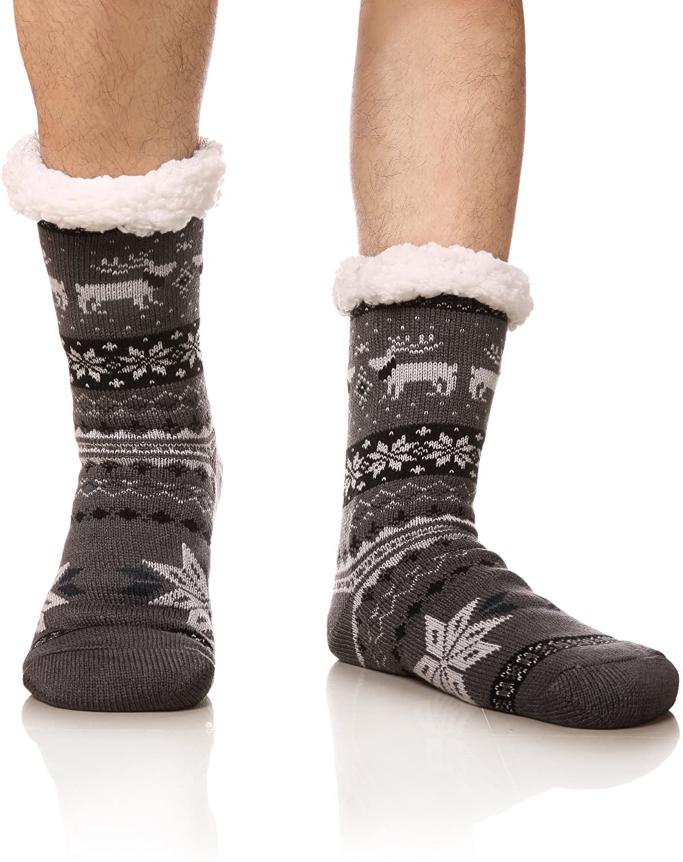 DoSmart Men's Winter Thermal Fleece Lining Knit Slipper Socks