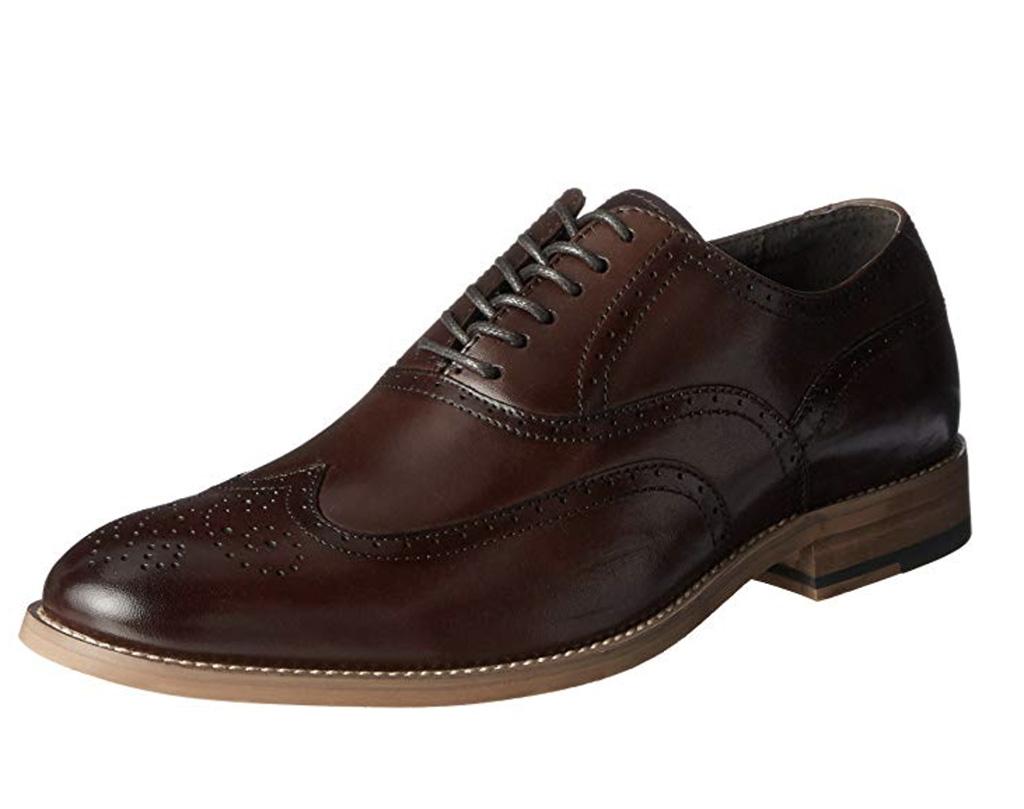 Stacy Adams Men's Dunbar Wingtip Lace-Up Oxford, Best Mens Wingtip Oxfords Amazon, brown dress shoe