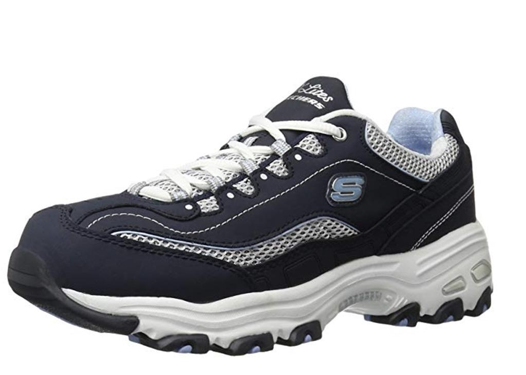 Skechers D'lites, best trendy sneakers for women on amazon, chunky trainer, navy blue sneaker