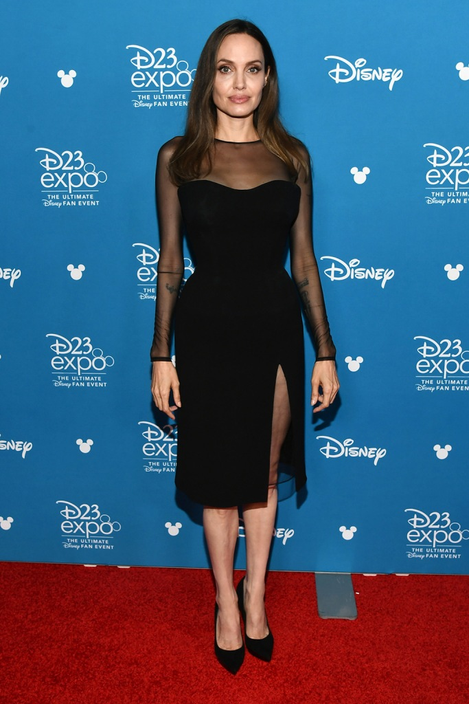 Angelina Jolie, Versace dress, classic black pumps, celebrity style, red carpet, Go Behind the Scenes with The Walt Disney Studios, Arrivals, D23 Expo, Anaheim, USA - 24 Aug 2019