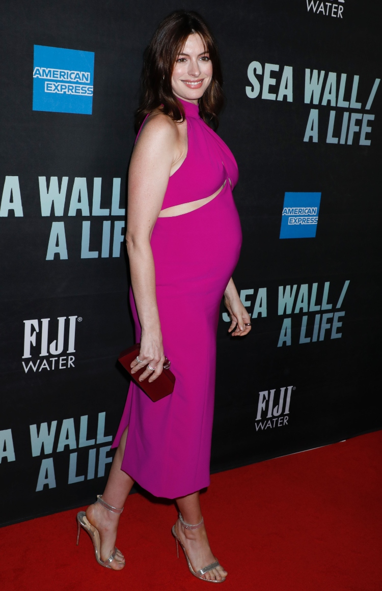 Sea Wall/A Life, opening night, broadway, anne hathaway, pregnant, pink dress