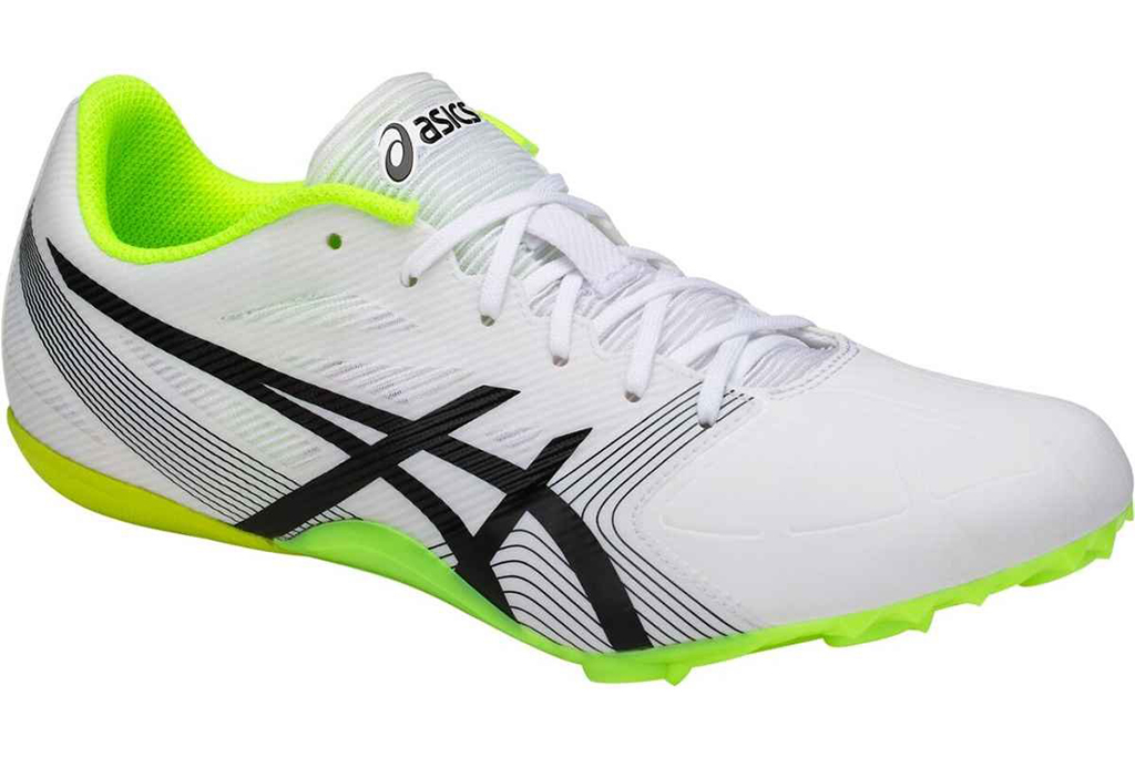 Asics Hypersprint 6, mens track and field shoes, neon green, white sneakers