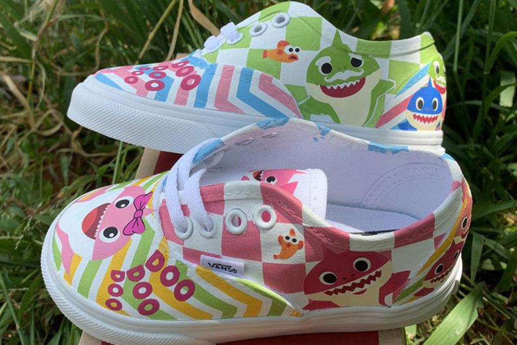 """Pink """"Baby Shark"""" custom Vans"""