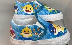 "Custom underwater ""Baby Shark"" Vans sneakers"