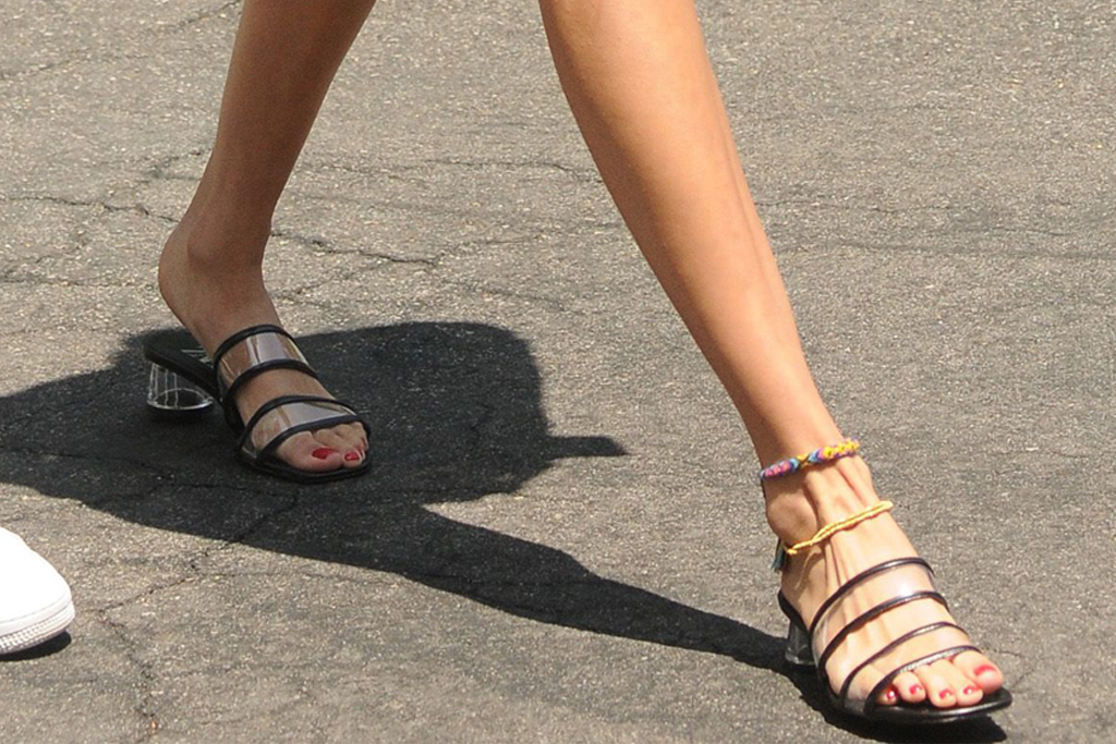 bella hadid, pvc sandals, floral skirt, los angeles, zara mules, feet