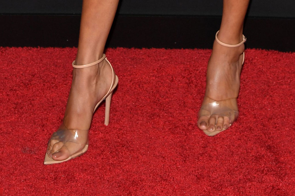 Bella Hadid, clear shoe trend, pedicure, feet, celebrity style, shoes, red carpet, MTV video music awards, VMAs,