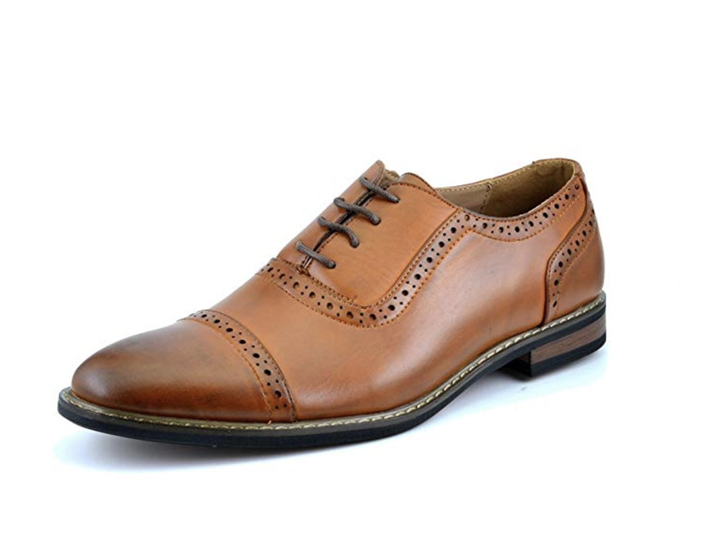 DREAM PAIRS Bruno Marc Moda Italy Men's Prince Classic Modern Formal Oxford Wingtip Lace Up Dress Shoes, best mens wingtip oxfrods amazon, brown dress shoes