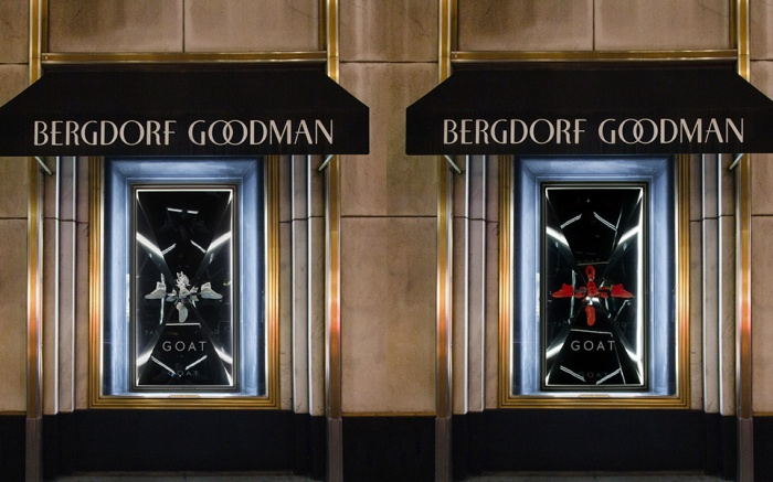 A look at the windows at Bergdorf Goodman, featuring two pairs of rare sneakers courtesy of GOAT.