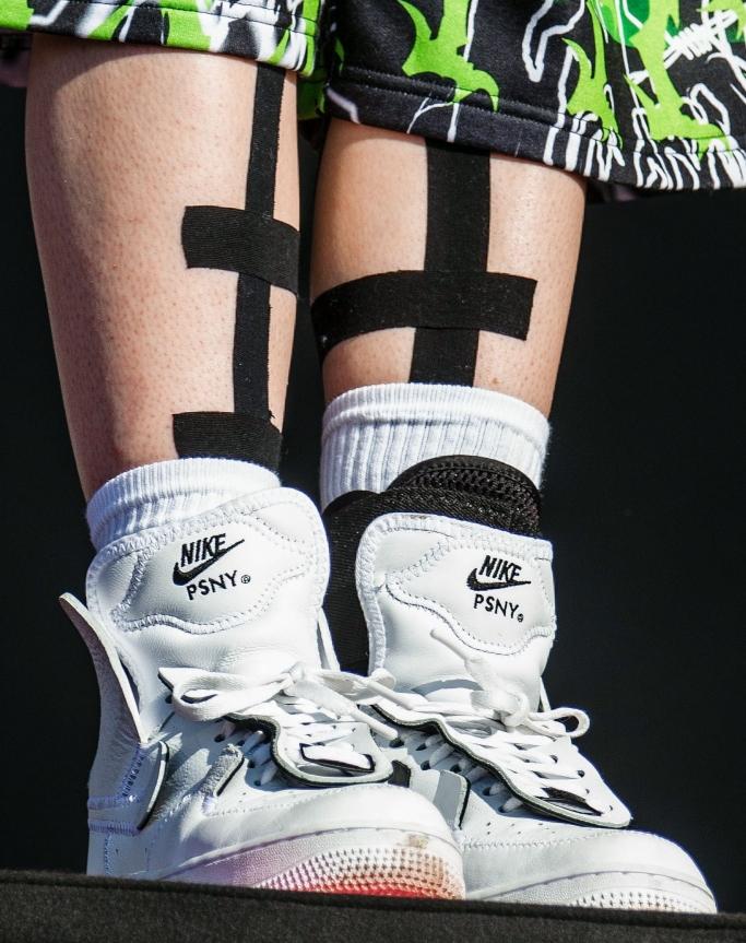 billie eilish, nike air force 1 high PSNY sneakers