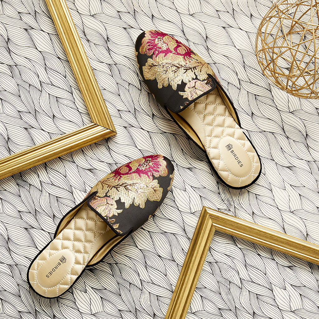 "Birdies' ""The Phoebe"" slipper in floral jacquard."