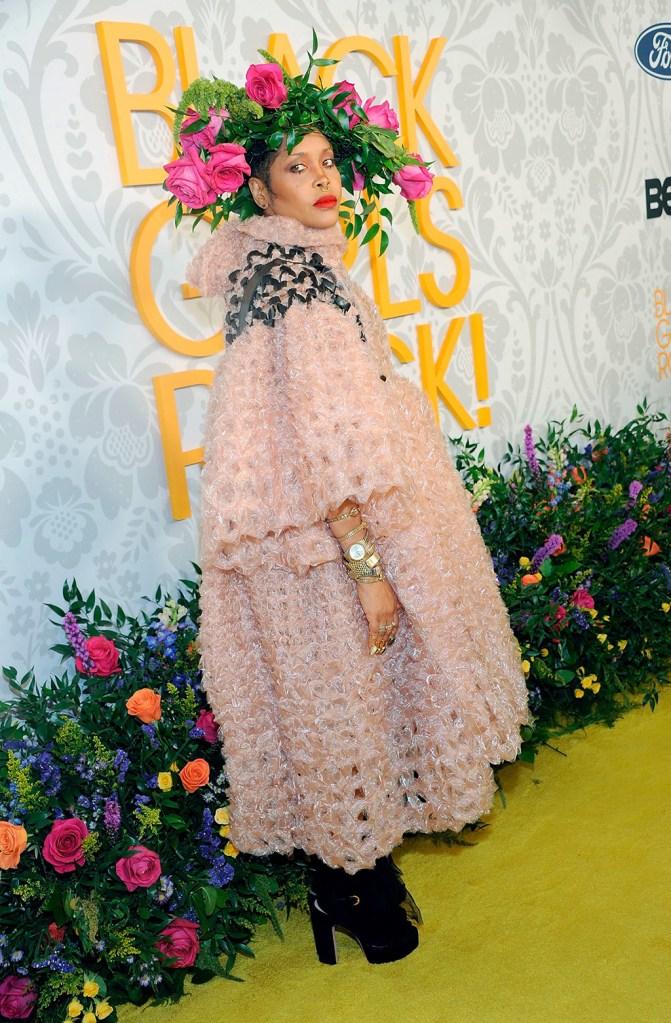 Erykah Badu, pink dress, platform heels, flower crown, watches, fashion, celebrity style, attends the 2019 Black Girls Rock! Awards Red Carpet at the New Jersey Performing Arts Center, in Newark, N.J2019 Black Girls Rock! Awards - Arrivals, Newark, USA - 25 Aug 2019