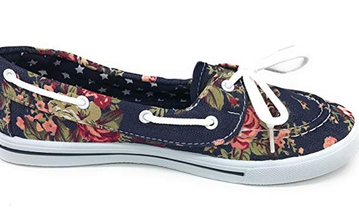 Blue Berry EASY21, girls boat shoes, floral, canvas, laces