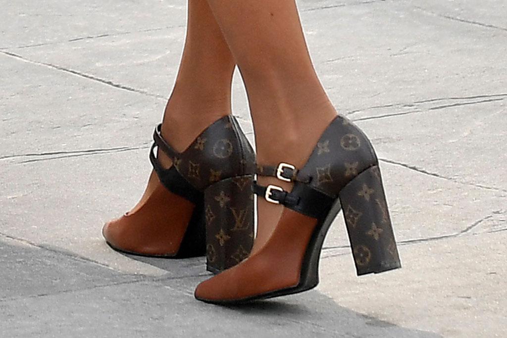 Brigitte Macron, Louis Vuitton, matchmake pumps, celebrity style, high heels, monogram