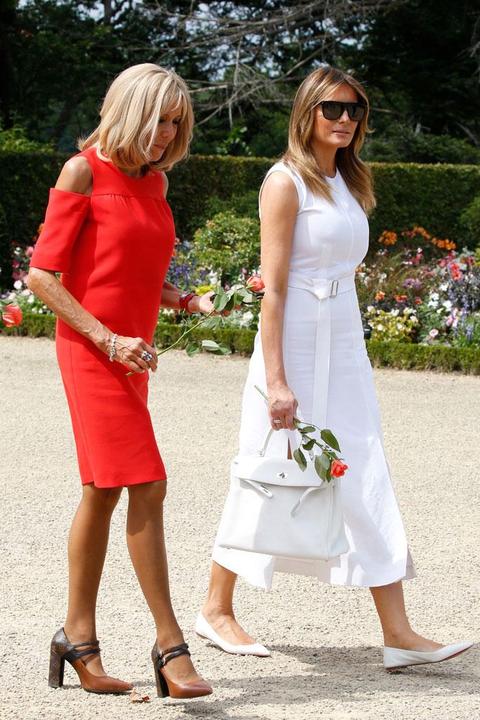 Brigitte Macron, Louis Vuitton matchmaker pumps, celebrity shoe style, First Lady of France, flotus, melania trump, white midi dress, christian Louboutin ballet flats, Espelette, France