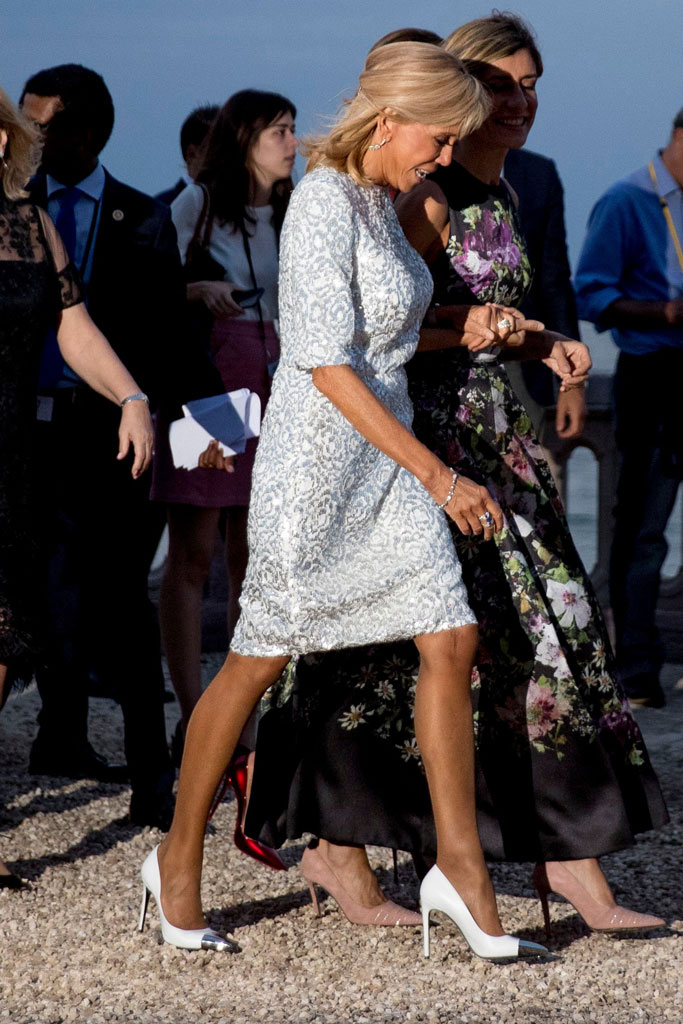 Brigitte Macron, celebrity style, silver dress, cap-toe pumps, shoe style, celebrity, First Lady of France, Biarritz, France