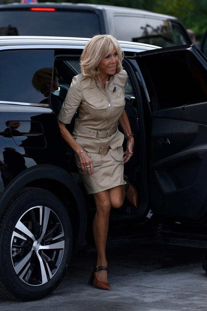 Brigitte macron, Louis Vuitton, block-heeled pumps, celebrity style, high heels, utility dress, biarritz, France, g7 summit, First Lady