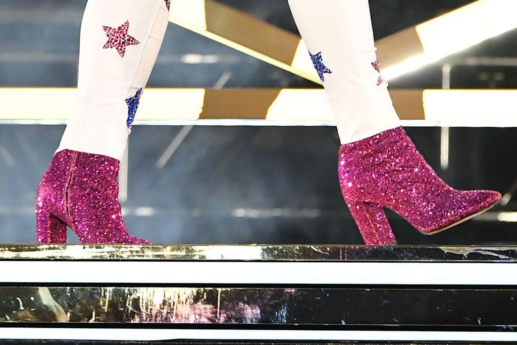 Cardi B, pink glittery saint Laurent boots, star-print jumpsuit, Real Street Festival, Anaheim, USA - 11 Aug 2019
