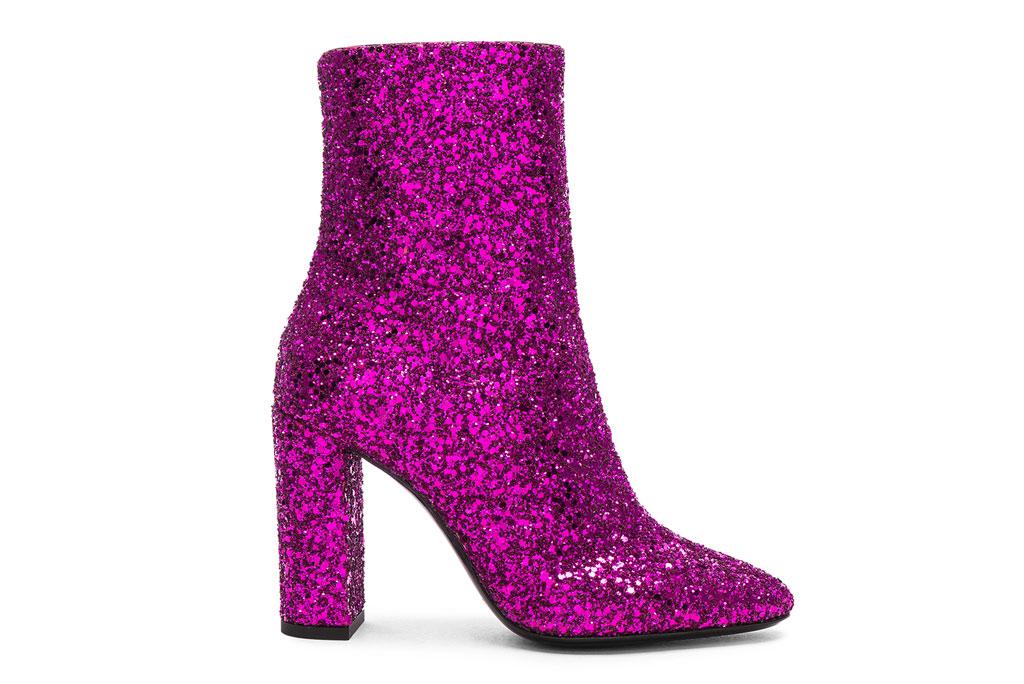 Saint Laurent pink glitter ankle boots, Fwrd.com, cardi b