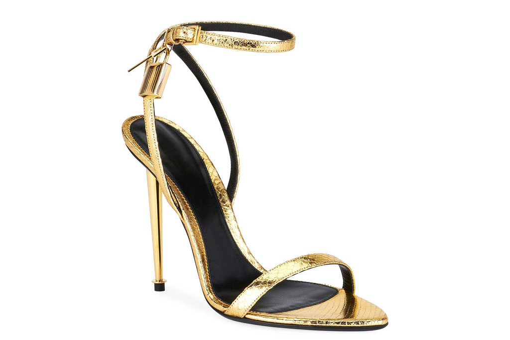 Tom Ford gold python sandals.
