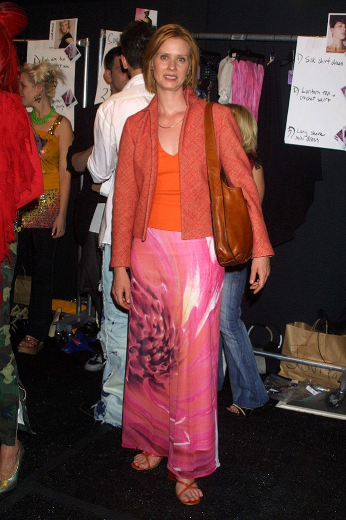 Cynthia Nixon at the House of Field Show, 2001, celebs front row at NYFW.