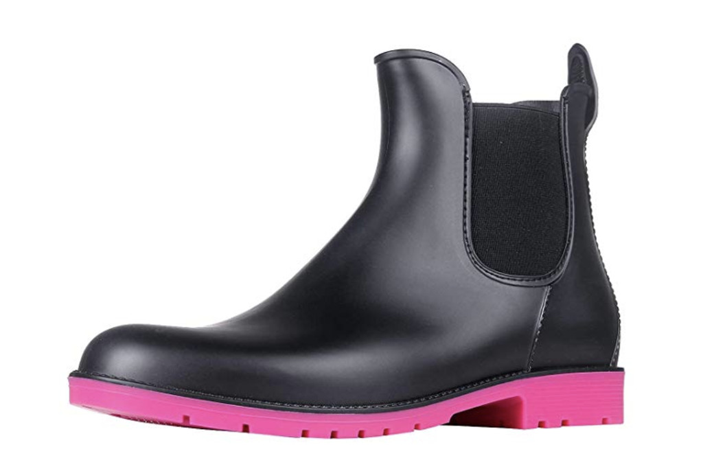 Asgard Women's Ankle Rain Boots Waterproof Chelsea Boots, Amazon, Best Chelsea Boots for Women, Black rainboots with pink outsole, fall boot trends