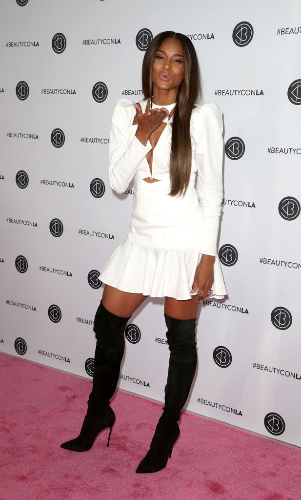 Ciara, celebrity style, pink carpet, white minidress, legs, thigh-high boots, Beautycon festival, Los Angeles, USA - 11 Aug 2019