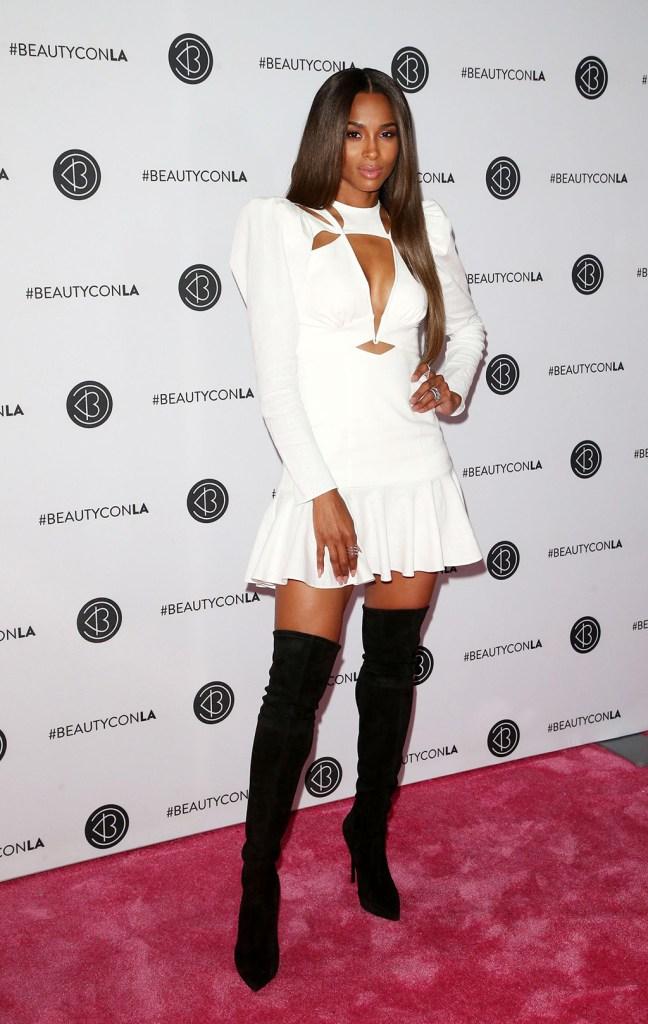 Ciara, celebrity style, pink carpet, white minidress, legs, thigh-high boots, Beautycon festival, Los Angeles, USA - 11 Aug 2019CiaraBeautycon festival, Los Angeles, USA - 11 Aug 2019
