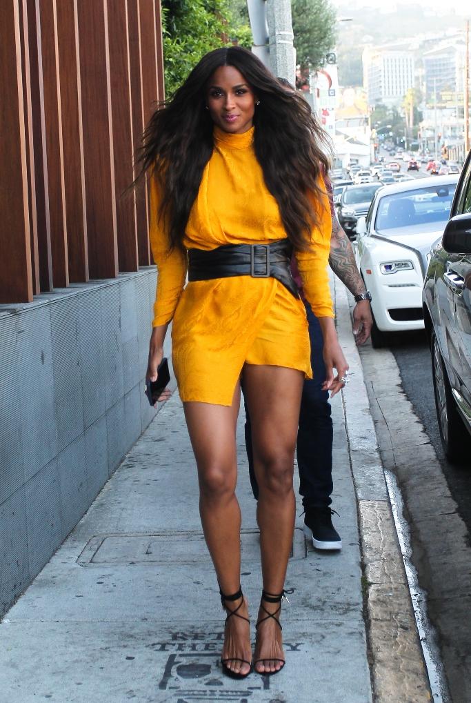 ciara, dundas yellow satin minidress, strappy sandals