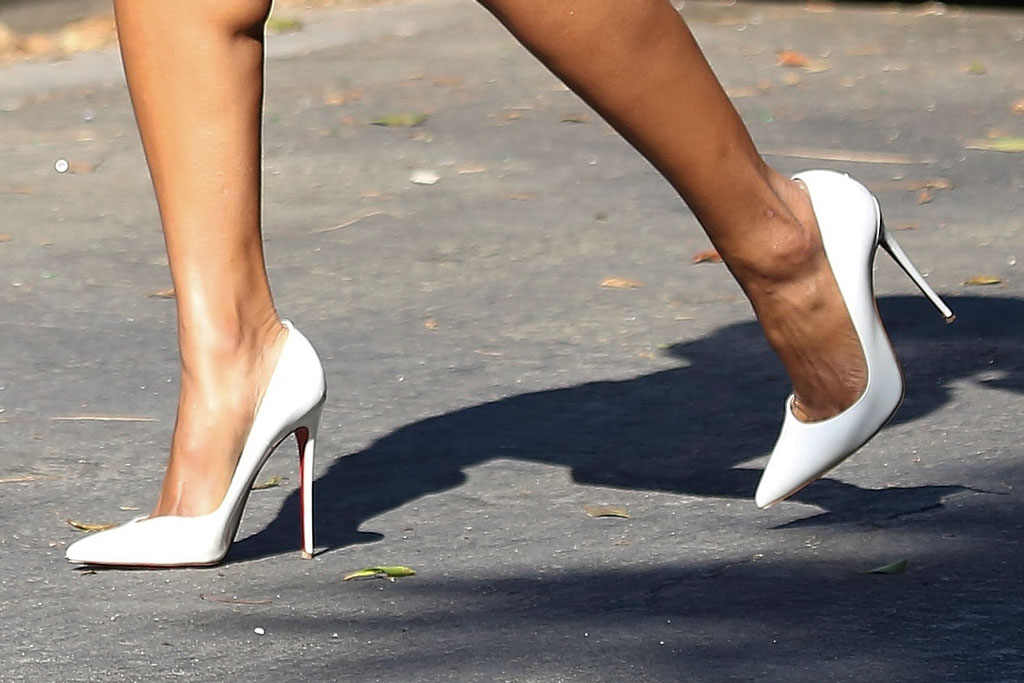 Ciara, Versace dress, Christian Louboutin So Kate pumps, celebrity shoe style, stilettos, Los Angeles, California,