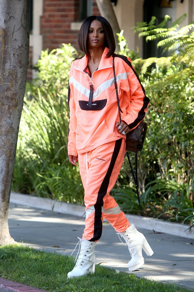 Ciara looks stunning as she arrives on set at 'America's Most Musical Family' in Los Angeles, California. The singer rocked a bright orange Daniel Patrick outfit with white construction-style boots. She accessorized with a Louis Vuitton purse and her hair was styled into a chic bob. Ciara will appear as a judge for the new Nickelodeon music competition show along with Debbie Gibson and You Tube star David Dobrik. Pictured: Ciara Ref: SPL5109405 140819 NON-EXCLUSIVE Picture by: SplashNews.com Splash News and Pictures Los Angeles: 310-821-2666 New York: 212-619-2666 London: 0207 644 7656 Milan: +39 02 56567623 photodesk@splashnews.com World Rights